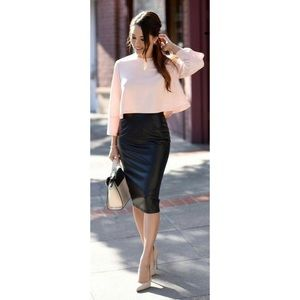 Leith Faux Leather Spandex Style Midi Pencil Skirt